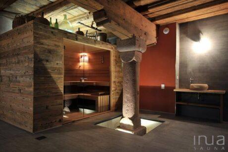 INUA_indendørs_rustik_finsk_sauna_Pfaffenheim_Frankrig_1